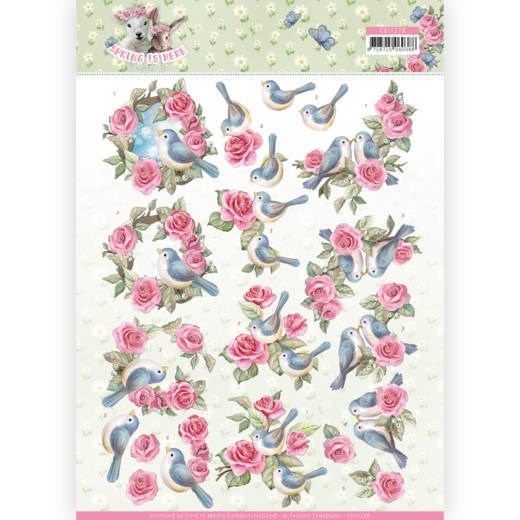 CD11278 3D Knipvel - Amy Design - Spring is Here - Birds and Roses(#HJ168)