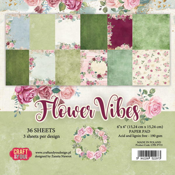 "CPB-FV15 FLOWER VIBES Small Paper Pad 6x6"" , 36 sheets,190 gsm"