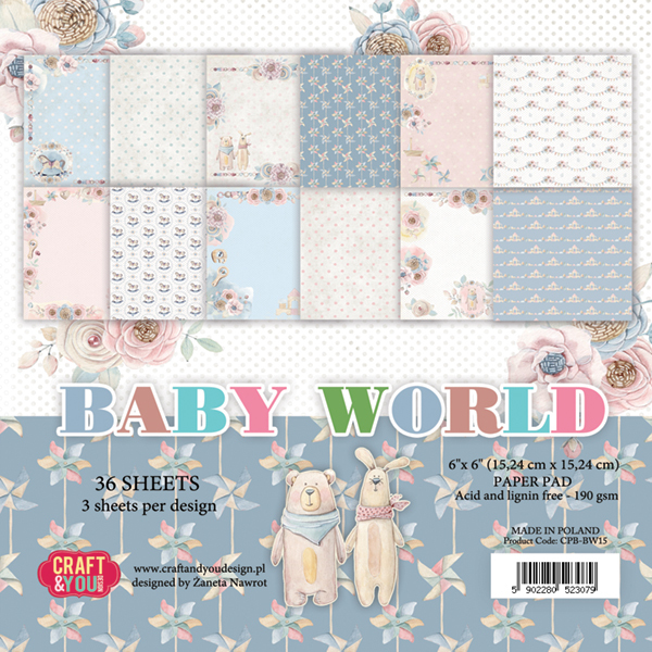 "CPB-BW15 Baby World Small Paper Pad 6x6"" , 36 sheets,190 gsm"