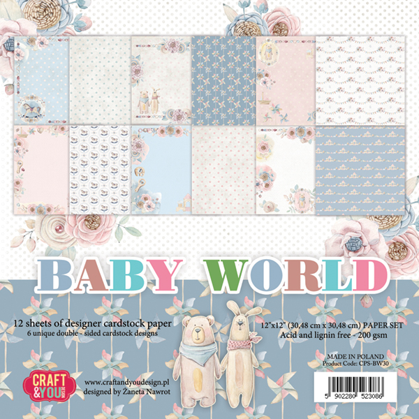 "CPS-BW30 Baby World BIG Paper Set 12x12"", 12 sheets ( 200 gsm )"