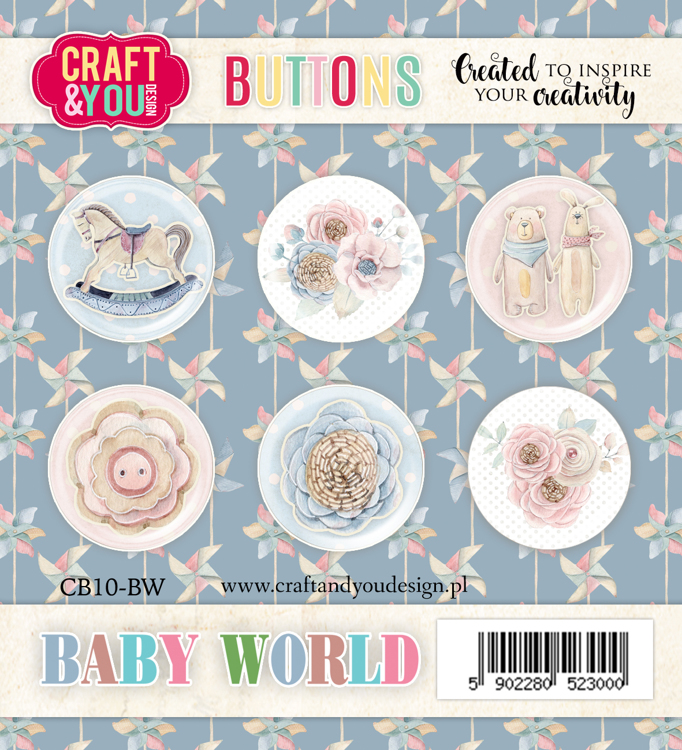 CB10-BW Baby World Buttons 6pcs