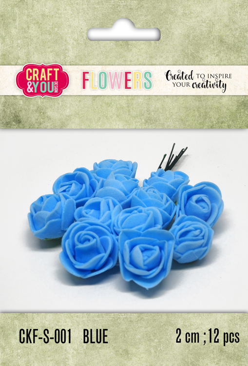 CKF-S-001 Foam Roses set of 12 pcs, ap.2cm Blue