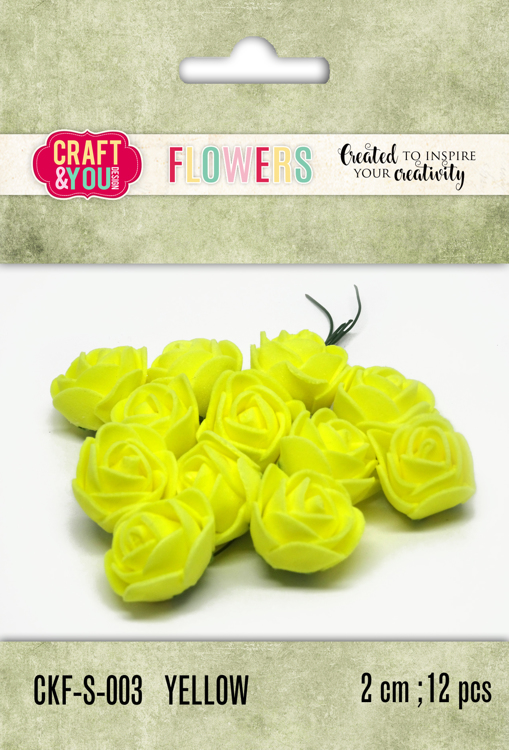 CKF-S-003 Foam Roses set of 12 pcs, ap.2cm Yellow