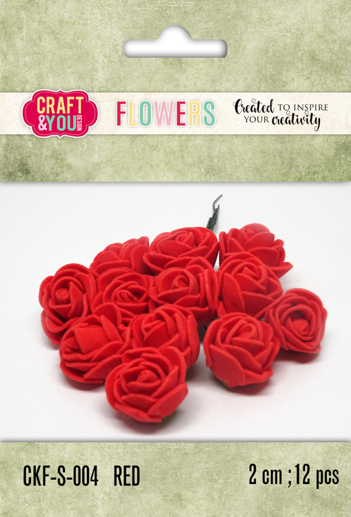 CKF-S-004 Foam Roses set of 12 pcs, ap.2cm Red