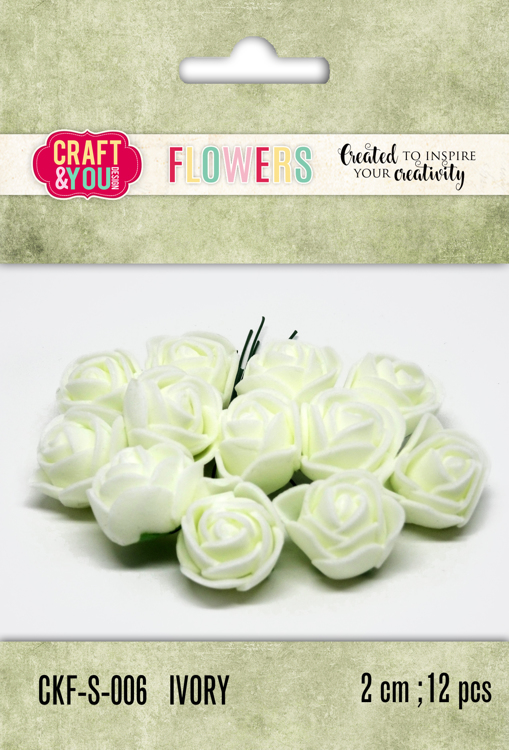 CKF-S-006 Foam Roses set of 12 pcs, ap.2cm Ivory