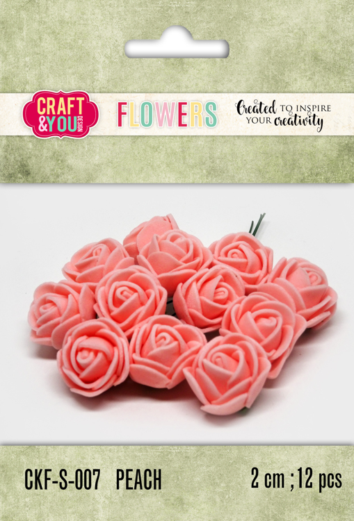 CKF-S-007 Foam Roses set of 12 pcs, ap.2cm Peach