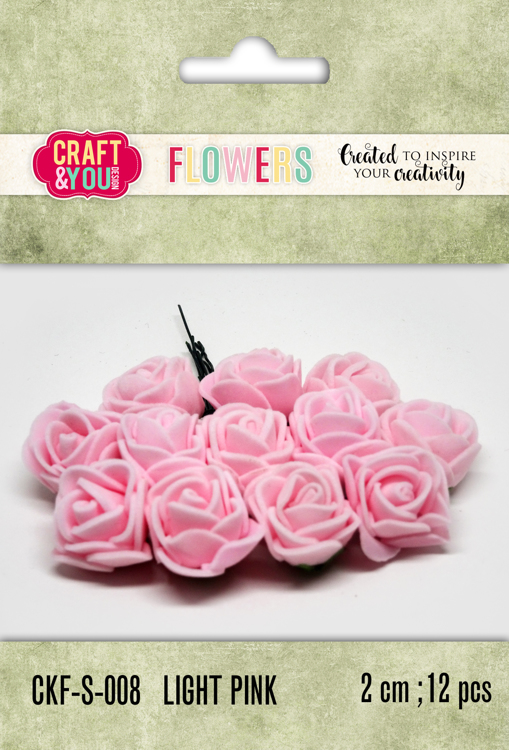 CKF-S-008 Foam Roses set of 12 pcs, ap.2cm Light pink