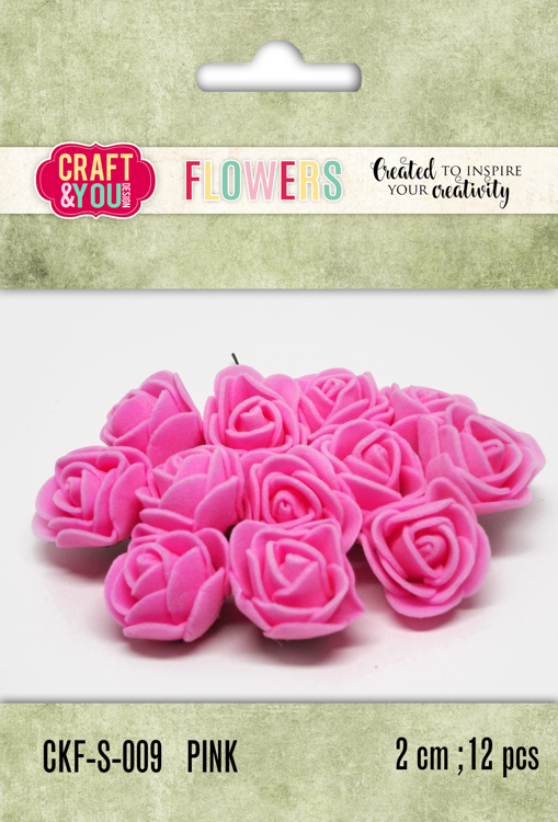CKF-S-009 Foam Roses set of 12 pcs, ap.2cm PINK