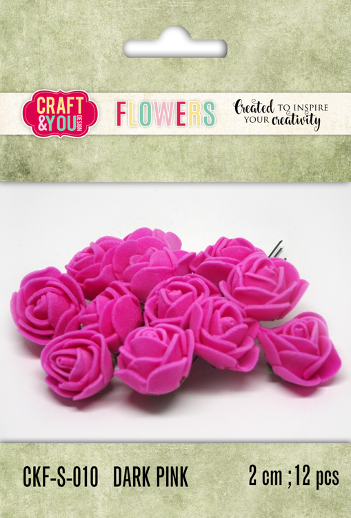 CKF-S-010 Foam Roses set of 12 pcs, ap.2cm DARK PINK