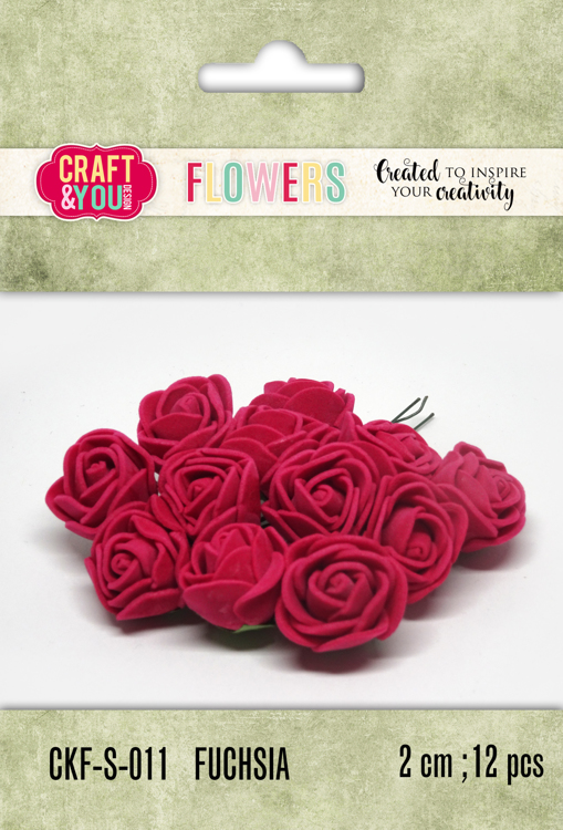 CKF-S-011 Foam Roses set of 12 pcs, ap.2cm FUCHSIA