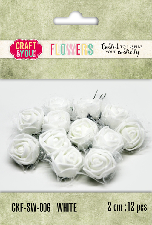 CKF-SW-006 Foam Roses with veil set of 12 pcs, ap.2cm WHITE