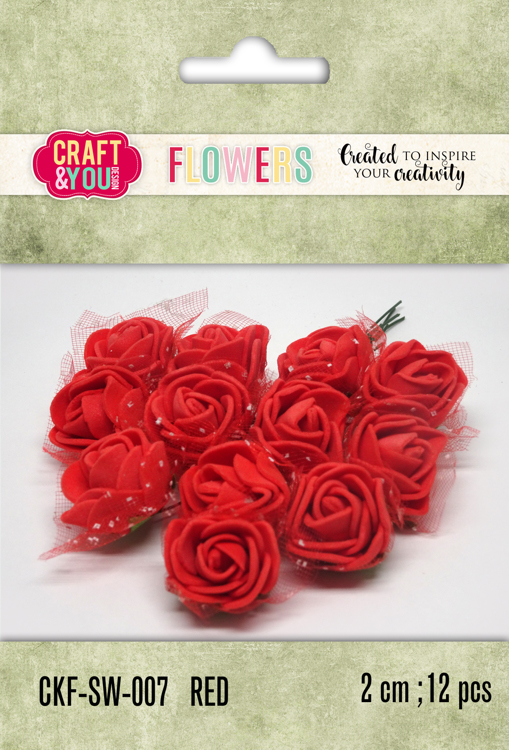 CKF-SW-007 Foam Roses with veil set of 12 pcs, ap.2cm Red