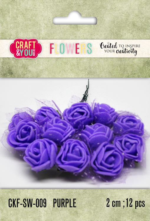 CKF-SW-009 Foam Roses with veil set of 12 pcs, ap.2cm Purple