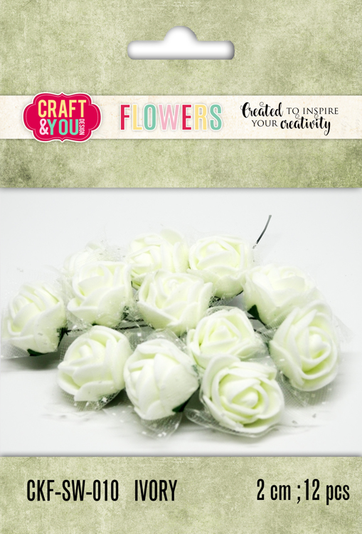 CKF-SW-010 Foam Roses with veil set of 12 pcs, ap.2cm Ivory