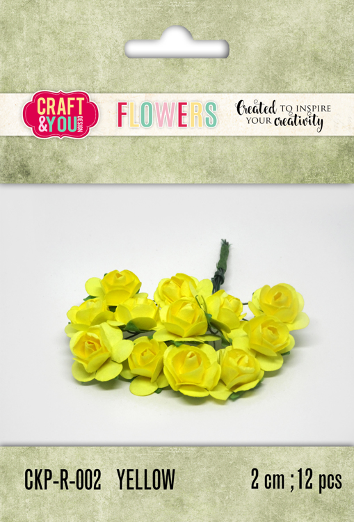 CKP-R-002 Paper Roses set 12pcs size 2cm Yellow