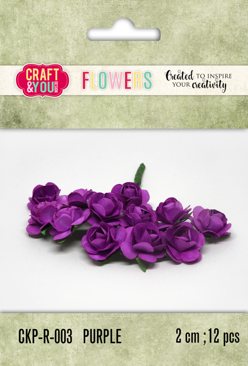 CKP-R-003 Paper Roses set 12pcs  size 2cm Purple