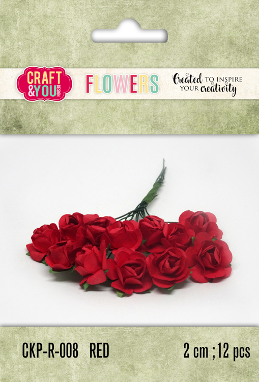 CKP-R-008 Paper Roses set 12pcs size 2cm Red