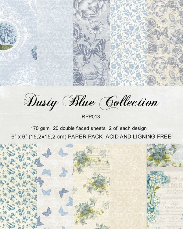 RPP013 Paper pack 6x6 Dusty blue Collection 20pcs