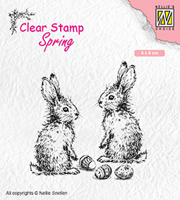 "SPCS006 Clear stamps Spring ""Two hares"""
