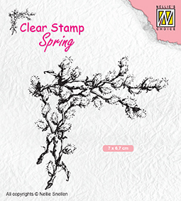 "SPCS009 Clear Stamps Spring ""Corner with willow catkins"""