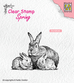 "SPCS010 Clear Stamps Spring ""Rabbit family"""