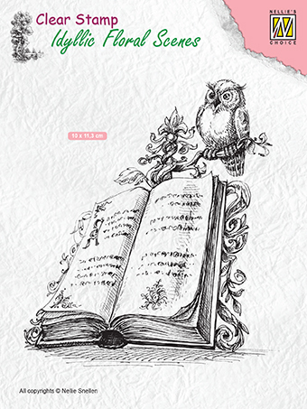"IFS013 Clear Stamps Idyllic Floral Scenes ""Book with owl"""