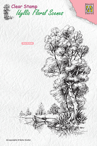 "IFS014 Clear Stamps Idyllic Floral Scenes ""Tree with boat"""