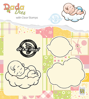"DDCS010 DADA set Die with clear stamp ""It's a boy: sweet dreams"""