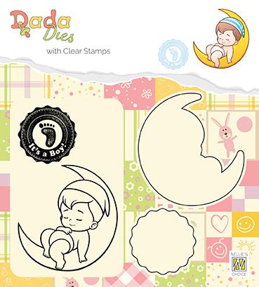 "DDCS011 DADA set Die with clear stamp ""It's a boy: on the moon"""