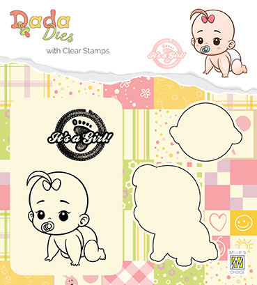 "DDCS012 DADA set Die with clear stamp ""It's a girl: crawling"""