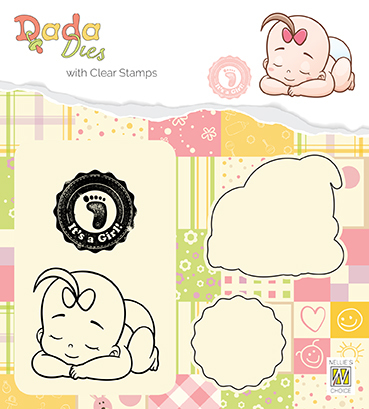 "DDCS013 DADA set Die with clear stamp ""It's a girl: taking a rest"""