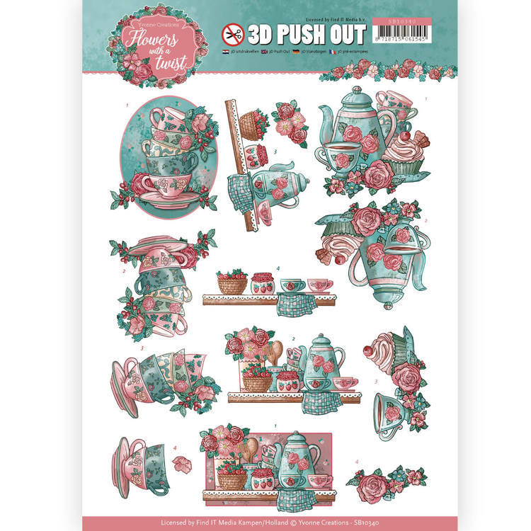 SB10340 3D Pushout - Yvonne Creations - Flowers with a Twist - Tea Time(#HZ01902)