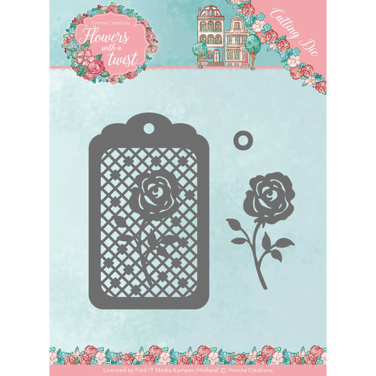 YCD10166 Dies - Yvonne Creations - Flowers with a Twist- Rose Label(#HZ01902)
