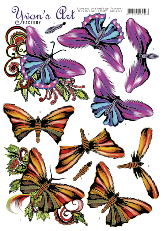 CD11303 3D Knipvel - Yvon's Art - Butterflies