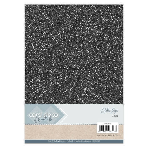 CDEGP021 Card Deco Essentials Glitter Paper Black
