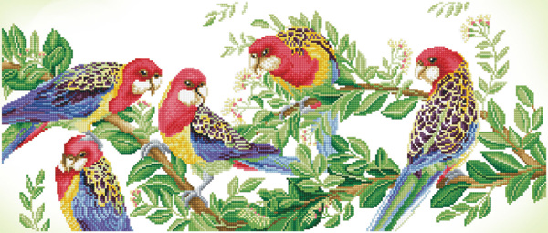 DD13.025 Diamond Dotz® - 87x37cm Eastern Rosella Gathering