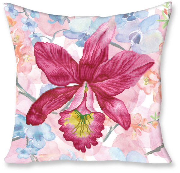 DD16.010 Diamond Dotz® - 45x45cm Pillow Kit Sparkle Garden Pink