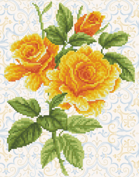 DD6.008 Diamond Dotz® - 28x36cm Yellow Rose Bouquet (#19-04)