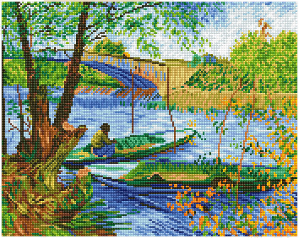 DD9.036 DIAMOND DOTZ® - 50x40cm - Fishing in Spring (Van Gogh)