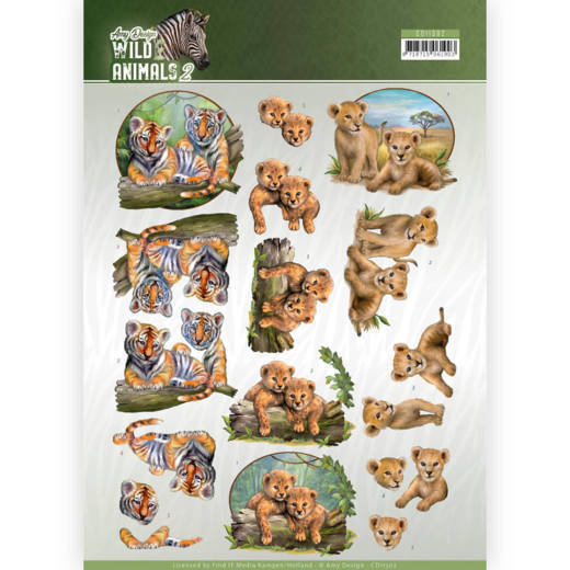 CD11302 3D Knipvel - Amy Design - Wild Animals - Twins(#HJ170)