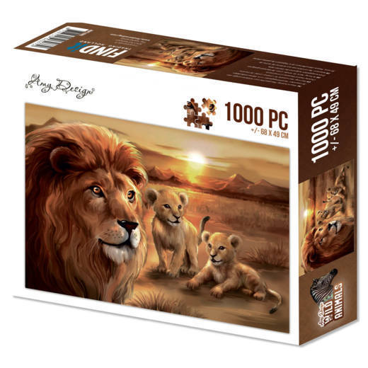 ADPZ1002 Puzzle 1000 pc - Amy Design - Wild Animals - Lion with cubs(#HJ170)
