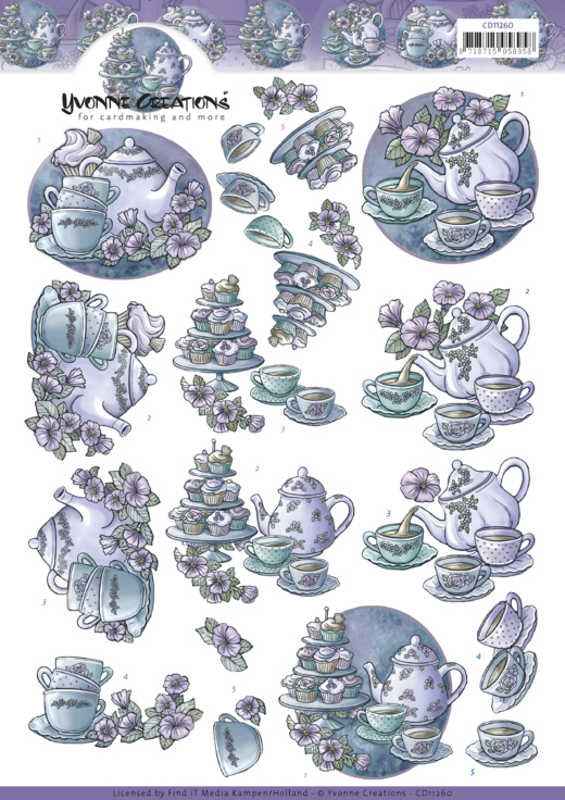CD11260 3D Knipvel - Yvonne Creations - Teapot in purple