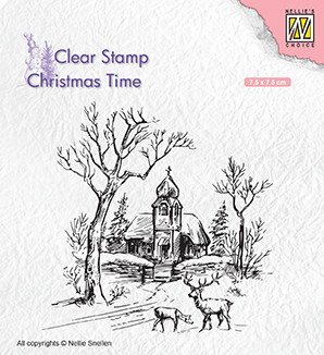 CT027 Clear Stamps Christmas time Wintery scene with church & reindeer