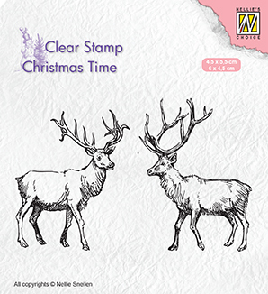 CT028 Clear Stamps Christmas time Two reindeer
