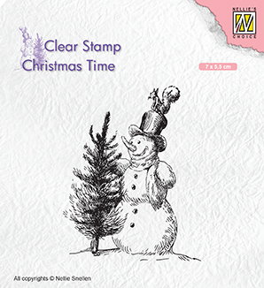 CT029 Clear Stamps Christmas time Snowman with tree