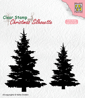 CSIL009 Christmas silhouette clear stamps Fir trees