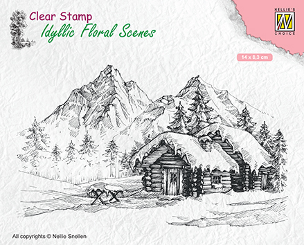 IFS015 Clear Stamps Idyllic Floral Scenes Snowy landscape with cottage