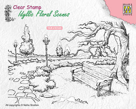 IFS016 Clear Stamps Idyllic Floral Scenes Wintery park with bench