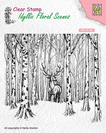 IFS017 Clear Stamps Idyllic Floral Scenes Deer in forest