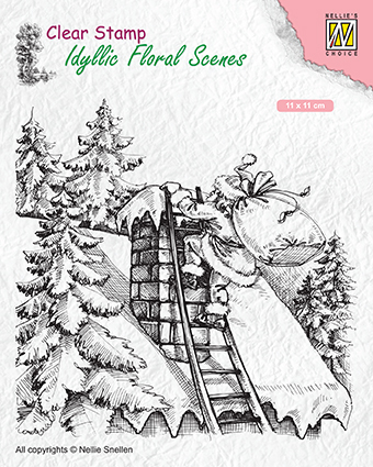 IFS018 Clear Stamps Idyllic Floral Scenes Santa Claus at work